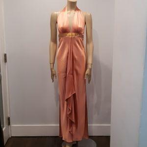 Nicole Miller Salmon color silk halter gown size 0